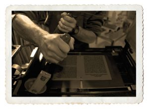 handpress letterpress printing Shakespeare